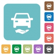 Car insurance white flat icons on color rounded square backgrounds - Car insurance rounded square flat icons
