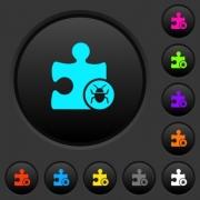 Plugin bug dark push buttons with vivid color icons on dark grey background - Plugin bug dark push buttons with color icons