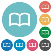 Open book flat white icons on round color backgrounds - Open book flat round icons