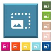 Enlarge photo white icons on edged square buttons in various trendy colors - Enlarge photo white icons on edged square buttons