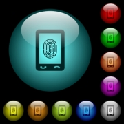 Mobile fingerprint identification icons in color illuminated spherical glass buttons on black background. Can be used to black or dark templates - Mobile fingerprint identification icons in color illuminated glass buttons