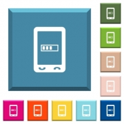 Mobile processing white icons on edged square buttons in various trendy colors - Mobile processing white icons on edged square buttons