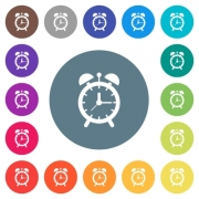 Alarm clock flat white icons on round color backgrounds. 17 background color variations are included. - Alarm clock flat white icons on round color backgrounds