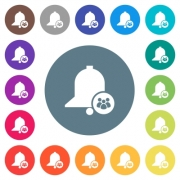 Team reminder flat white icons on round color backgrounds. 17 background color variations are included. - Team reminder flat white icons on round color backgrounds