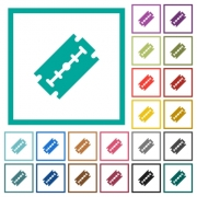 Razor blade flat color icons with quadrant frames on white background - Razor blade flat color icons with quadrant frames