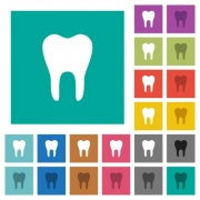 Single tooth multi colored flat icons on plain square backgrounds. Included white and darker icon variations for hover or active effects. - Single tooth square flat multi colored icons