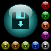 Move down file icons in color illuminated spherical glass buttons on black background. Can be used to black or dark templates - Move down file icons in color illuminated glass buttons