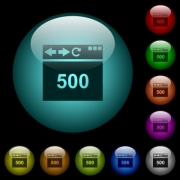 Browser 500 internal server error icons in color illuminated spherical glass buttons on black background. Can be used to black or dark templates - Browser 500 internal server error icons in color illuminated glass buttons