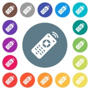 Working remote control flat white icons on round color backgrounds. 17 background color variations are included. - Working remote control flat white icons on round color backgrounds