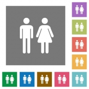 Male and female sign flat icons on simple color square backgrounds - Male and female sign square flat icons