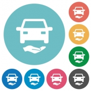 Car insurance flat white icons on round color backgrounds - Car insurance flat round icons - Large thumbnail