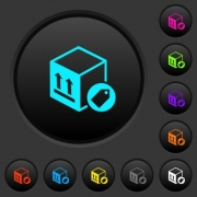 Package labeling dark push buttons with vivid color icons on dark grey background - Package labeling dark push buttons with color icons - Large thumbnail