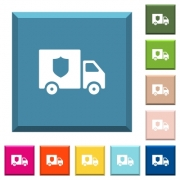 Money deliverer truck white icons on edged square buttons in various trendy colors - Money deliverer truck white icons on edged square buttons - Large thumbnail