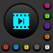 Next movie dark push buttons with vivid color icons on dark grey background - Next movie dark push buttons with color icons - Large thumbnail