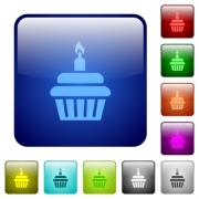 Birthday cupcake icons in rounded square color glossy button set - Birthday cupcake color square buttons - Large thumbnail