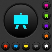 Blackboard dark push buttons with vivid color icons on dark grey background - Blackboard dark push buttons with color icons