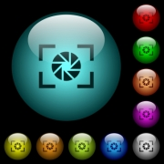 Camera aperture setting icons in color illuminated spherical glass buttons on black background. Can be used to black or dark templates - Camera aperture setting icons in color illuminated glass buttons - Large thumbnail