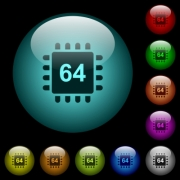 Microprocessor 64 bit architecture icons in color illuminated spherical glass buttons on black background. Can be used to black or dark templates - Microprocessor 64 bit architecture icons in color illuminated glass buttons - Large thumbnail