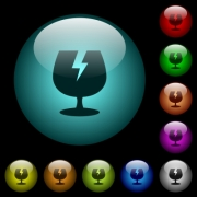 Fragile symbol icons in color illuminated spherical glass buttons on black background. Can be used to black or dark templates - Fragile symbol icons in color illuminated glass buttons - Large thumbnail