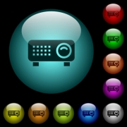 Video projector icons in color illuminated spherical glass buttons on black background. Can be used to black or dark templates - Video projector icons in color illuminated glass buttons