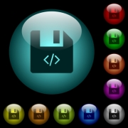 Script file icons in color illuminated spherical glass buttons on black background. Can be used to black or dark templates - Script file icons in color illuminated glass buttons - Large thumbnail