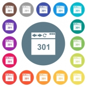 Browser 301 Moved Permanently flat white icons on round color backgrounds. 17 background color variations are included. - Browser 301 Moved Permanently flat white icons on round color backgrounds