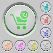 Checkout with new Shekel cart color icons on sunk push buttons - Checkout with new Shekel cart push buttons