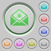 Open mail with malware symbol color icons on sunk push buttons - Open mail with malware symbol push buttons