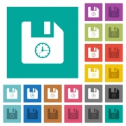File time multi colored flat icons on plain square backgrounds. Included white and darker icon variations for hover or active effects. - File time square flat multi colored icons