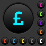 Pound sign dark push buttons with vivid color icons on dark grey background
