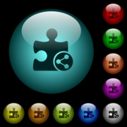 Share plugin icons in color illuminated spherical glass buttons on black background. Can be used to black or dark templates - Share plugin icons in color illuminated glass buttons