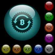 Bitcoin pay back guarantee sticker icons in color illuminated spherical glass buttons on black background. Can be used to black or dark templates - Bitcoin pay back guarantee sticker icons in color illuminated glass buttons