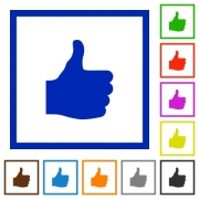 Thumbs up flat color icons in square frames on white background - Thumbs up flat framed icons