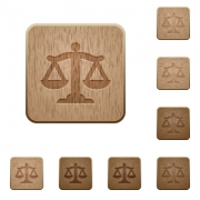 Scale of law on rounded square carved wooden button styles - Scale of law wooden buttons