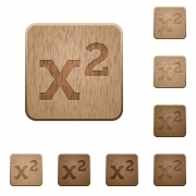 Math exponentiation on rounded square carved wooden button styles - Math exponentiation wooden buttons