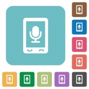 Mobile recording white flat icons on color rounded square backgrounds - Mobile recording rounded square flat icons