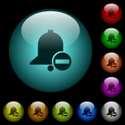 Remove reminder icons in color illuminated spherical glass buttons on black background. Can be used to black or dark templates - Remove reminder icons in color illuminated glass buttons