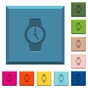 Watch engraved icons on edged square buttons in various trendy colors - Watch engraved icons on edged square buttons