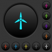 Wind turbine dark push buttons with vivid color icons on dark grey background - Wind turbine dark push buttons with color icons