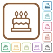 Birthday cake simple icons in color rounded square frames on white background - Birthday cake simple icons