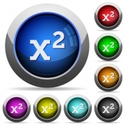 Math exponentiation icons in round glossy buttons with steel frames - Math exponentiation round glossy buttons