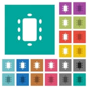 Meeting multi colored flat icons on plain square backgrounds. Included white and darker icon variations for hover or active effects. - Meeting square flat multi colored icons