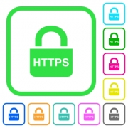 Secure http protocol vivid colored flat icons in curved borders on white background - Secure http protocol vivid colored flat icons