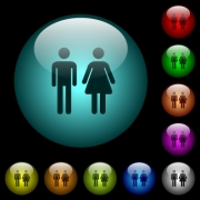 Male and female sign icons in color illuminated spherical glass buttons on black background. Can be used to black or dark templates - Male and female sign icons in color illuminated glass buttons