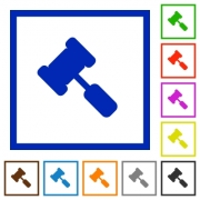 Judge hammer flat color icons in square frames on white background - Judge hammer flat framed icons