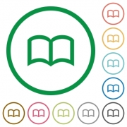 Open book flat color icons in round outlines on white background - Open book flat icons with outlines