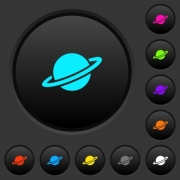 Planet dark push buttons with vivid color icons on dark grey background - Planet dark push buttons with color icons