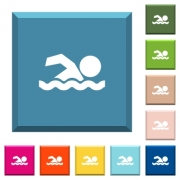 Swimming man white icons on edged square buttons in various trendy colors - Swimming man white icons on edged square buttons - Large thumbnail