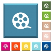 Movie roll white icons on edged square buttons in various trendy colors - Movie roll white icons on edged square buttons - Large thumbnail