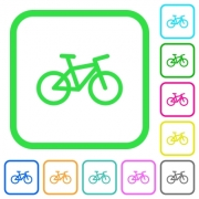 Bicycle vivid colored flat icons in curved borders on white background - Bicycle vivid colored flat icons